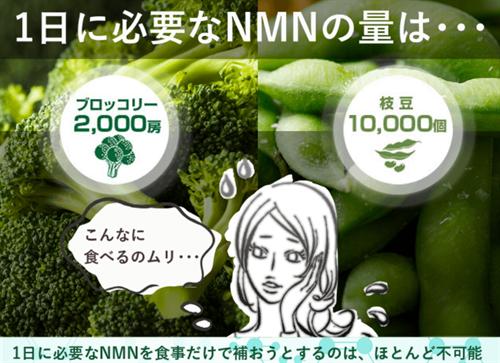 1日に必要な量のNMNを食べ物から摂取するのはほとんど不可能
