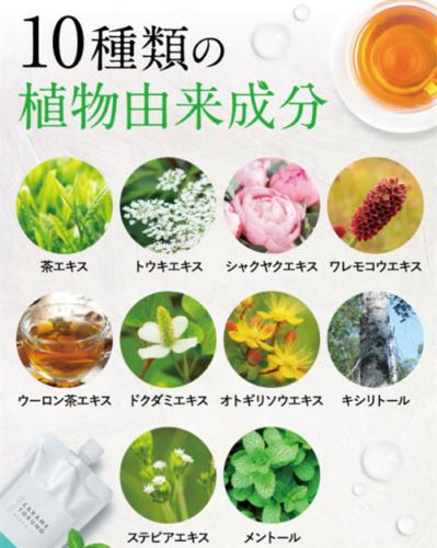 カラメトルーノデンタルウォッシュは10種類の植物由来成分を配合