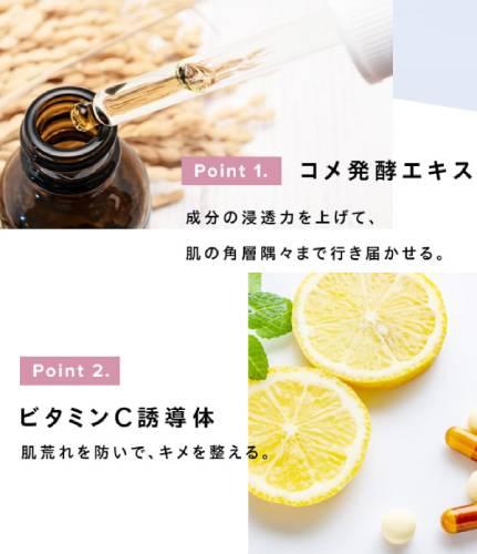ローションはコメ発酵エキス、ビタミンC誘導体など26種類の美容成分を配合